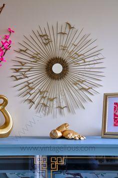 Sunburst mirror and happy flying birdies Mirror Crafts, Diy Mirror, Diy Wall Decor, Diy Home Decor, Diy Deco Rangement, Mirror Centerpiece, Diy Y Manualidades, Starburst Mirror, Round Mirrors