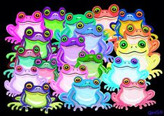 A collection of colorful frogs!