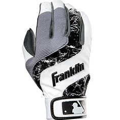 Franklin Sports MLB Youth Shok-Wave Batting Gloves, White/Black, Large