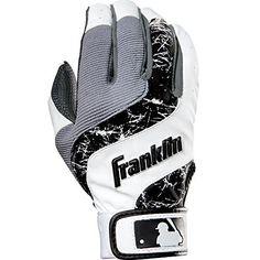 Franklin Sports MLB Youth Shok-Wave Batting Gloves, White/Black, Large