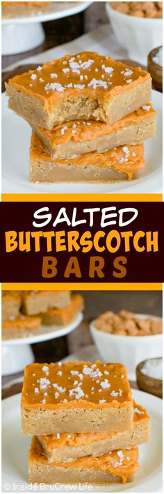 Salted Butterscotch Bars - sea salt and melted butterscotch chips add a fun and delicious twist to these easy bars!  Great dessert recipe!