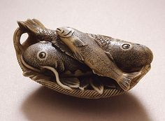 Japanese Netsuke Basket of Fish,