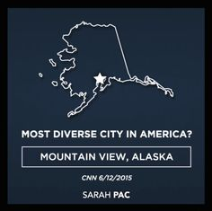 Well, who would have known that Alaska is home of the most diverse place in America? *Sigh* The media, in typical fashion, laughed and mocked when they were educated on that fact during the Vice Presidential campaign. Now, years later, I thank CNN for setting the record straight and helping me school their media colleagues. And I've got crows a'plenty out on the lake today – if any reporters need to eat some. See here, Todd didn't disturb any of them whilst parking…