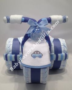 Tricycle Diaper Cake - I have received my order and I like it VERY much. Also, thank you for the option of picking the color and bibs, that was especially appreciated. Im sure I will purchase from you again #Babyfavorsandgifts #TricycleDiaperCake