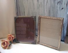 Vintage Filigree 8 x 10 Frames Pair of Metal by WillowsEndCottage