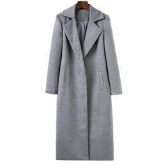37.32$  Buy here - http://di4u5.justgood.pw/go.php?t=198396201 - Lapel Collar Longline Cocoon Coat