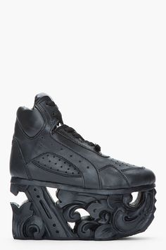 Ktz Black Leather Carved Sole Platform Sneakers in Black