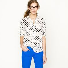 Polka dot top with bright colored skinny jeans...cute.