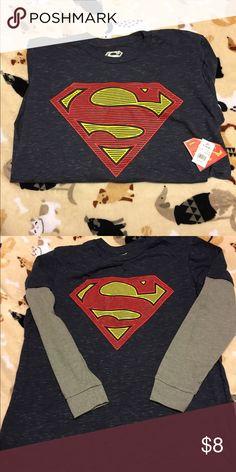 LongSleeve Superman Shirt. New with tags. Smoke free home. Pet Friendly. Superman Shirts Tees - Long Sleeve