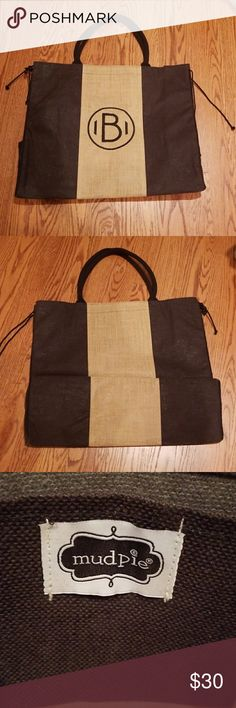 """Mudpie Chelsea Initial Jute Tote NEW """"B""""! Burlap large tote. Never been used! Super roomy! Perfect for traveling,  the beach, and just because! I only have B. Mudpie Bags Totes"""