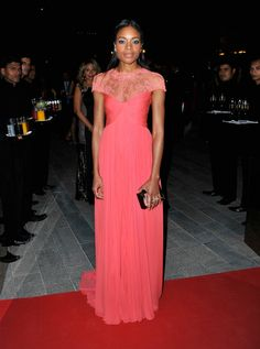 Naomie Harris Coral Lace Chiffon Evening Prom Celebrity Dress Oxfam Charity  Gala 6c6a75ae9ac0
