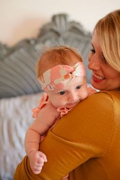 Pink, white and orange head wrap by Sara Rae