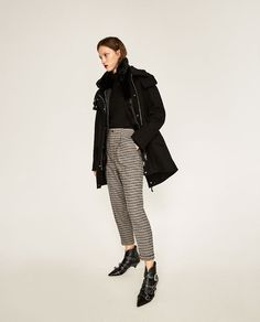 Image 1 of CROPPED CHECKED TROUSERS from Zara