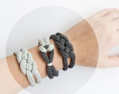 "Items similar to French knitted cotton bracelet - ""rainy day"" on Etsy Spool Knitting, Knitting Blogs, Easy Knitting, Jewelry Knots, Beaded Jewelry, Handmade Jewelry, Crochet Woman, Diy Crochet, Bracelet Crochet"
