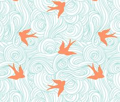 Ocean Flight, in Turquoise and Tangerine fabric by willowlanetextiles on Spoonflower - custom fabric