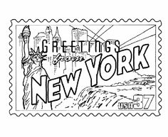 New York State Stamp Coloring Page