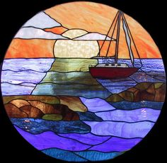 Stained glass sailboat mooring by www.phoenixstudio.com