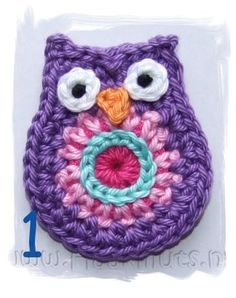 crochet owl - see if I can make this. would be cute on a hat for one of my neices Owl Crochet Pattern Free, Crochet Owls, Knit Or Crochet, Cute Crochet, Crochet Motif, Crochet Flowers, Crochet Baby, Free Pattern, Knitting Projects