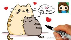 Great Mothers Day Video How to Draw Mother's Day Pusheen Cat Easy - Sweet Drawings, Kawaii Drawings, Easy Drawings, Cartoon Drawings Of Animals, Cute Animal Drawings, Draw So Cute Animals, How To Draw Pusheen, Chat Pusheen, Pusheen Unicorn