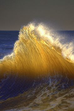 Blue and gold ocean and waves No Wave, Cool Pictures, Cool Photos, Beautiful Pictures, All Nature, Amazing Nature, Ocean Beach, Ocean Waves, Beautiful World