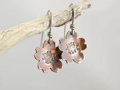Sakura flower earrings, Sakura blossom, Cherry blossom dangles, Drop Earrings, Japanese jewelry, Cherry Blossoms, Copper, Sterling silver by ViaPrairie on Etsy