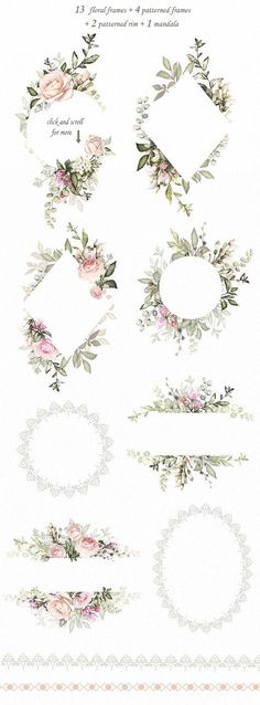Floral Design set by LisimArt on Creative Market Love & Roses. Floral Design set by LisimArt on Creative Market Graphic Design & Branding Design Floral, Design Set, Motif Floral, Design Ideas, Floral Border, Pattern Design, Wedding Card Design, Wedding Cards, Wedding Quotes