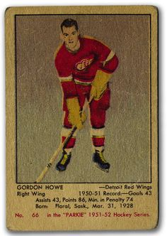 This is a beautiful card that is a asset to anyones collection. Gordie Howe was one of the greatest hockey players and to have a rookie card of him, is truly amazing.