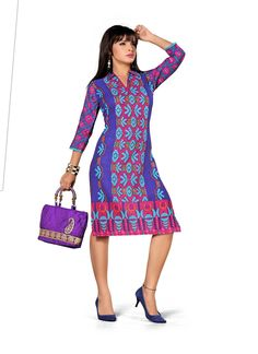 Blue Designer Cotton Kurti gunjfashion.com