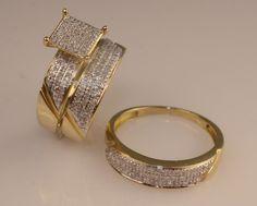 14K Yellow Gold Diamond Trio Set Wedding Band Men And Ladies Engagement Rings #aonedesigns #WeddingAnniversaryEngagementPartyGift