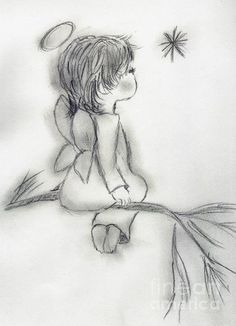 Angel Drawing - Angel Wishing on a Star by Sonya Chalmers Angel Drawing, Baby Drawing, Painting & Drawing, Angel Sketch, Drawing Lips, Drawing Drawing, Pencil Art Drawings, Art Drawings Sketches, Cute Drawings