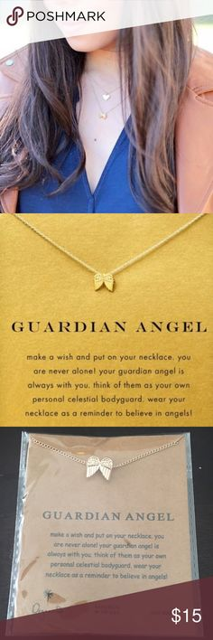 """GUARDIAN ANGEL Charm Gold Dipped Necklace NIP Cute & trendy GUARDIAN ANGEL lucky charm pendant with gold dipped/plated chain link necklace with card """"inspired"""" by Dogeared since unsure of authenticity. NEW. Still in plastic as shown in last pic. Length is approx. 42cm. Makes a perfect gift & looks great when layered! 💕 BUNDLE & SAVE! Dogeared Jewelry Necklaces"""