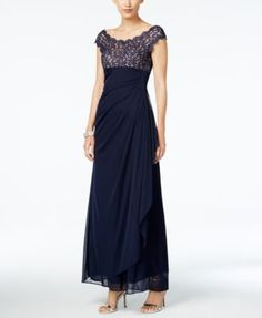 Xscape Lace-Bodice Draped Gown  $199.00 With a glittering, illusion-lace bodice, Xscape's gown is a glamorous look for a special evening.