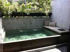36 Beautiful Mini Pool Garden Designs for Tiny House - Page 24 of 38 Backyard Patio Ideas Hot Tub, Backyard Pool Designs, Small Backyard Pools, Swimming Pools Backyard, Swimming Pool Designs, Diy Patio, Backyard Landscaping, Lap Pools, Indoor Pools