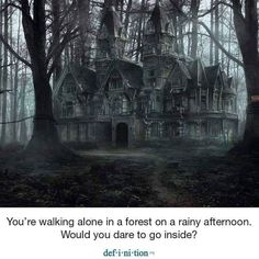 Image may contain: outdoor and text Creepy Old Houses, Old Abandoned Houses, Abandoned Castles, Abandoned Mansions, Abandoned Buildings, Abandoned Places, Haunted Houses, Unusual Buildings, Spooky Places