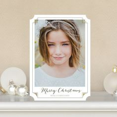 Glittery Notches - Flat #Holiday Photo Cards features a dark gray font and delicate detail.
