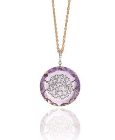 Casato Gioielli 18k Rose Gold Pendant Necklace with amethyst and diamonds from the Aphrodite collection