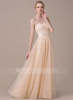 Corte A/Princesa Escote corazón Hasta el suelo Tul Charmeuse Encaje Vestido de novia con Lazo(s) (002058774) - JJsHouse