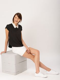 2d4fe6f862fe Buy DressBerry Black Polyester Woven Solid Top online