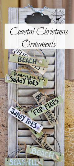 How to Make Coastal Ornament Signs + Craft Show Display Idea - via Homeroad Beach Christmas Ornaments, Coastal Christmas Decor, Nautical Christmas, Christmas Signs, Christmas Home, Xmas, Christmas Ideas, Coastal Decor, Christmas Decorations