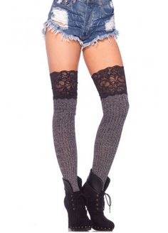Ribbed Knit Over The Knee Slouch Lace Top Socks | Attitude Clothing SHADOWHUNTER!!!!!!!!!!!!!!!!!!!