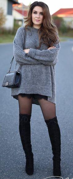 #fall #street #style | Grey + Black