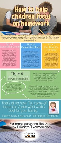 A great #Infographic for #parents who need tips on helping their children #focus on homework! http://www.drrobynsilverman.com/category/parenting-tips/ - ADD / ADHD #ParentingTipsNeeded #parentinginfographic