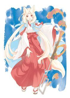 anime girl as kitsune in hakama
