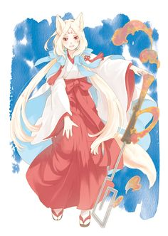 anime girl as kitsune in hakama