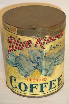 Blue Ribbon Brand Blended Coffee Coffee Stands, Coffee Tin, Vintage Tins, Vintage Coffee, Coffee Container, Coffee Grinders, Coffee Packaging, Tin Cans, Blended Coffee
