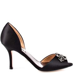 Salsa heels Black Satin brand heels Badgley Mischka