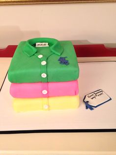 Polo Shirt Cake, by Amy Hart Cheesecake Desserts, No Bake Desserts, Wedding Cake Designs, Wedding Cakes, Bolo Frozen, Shirt Cake, Adult Birthday Cakes, Angel Cake, 3d Cakes