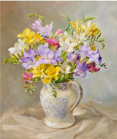 Freesias In a Blue & White Jug by Anne Cotterill