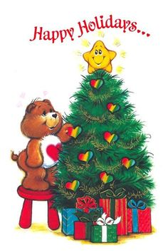 Vintage Christmas card - 1985 ~~ I love the Care Bears! Vintage Christmas Cards, Christmas Love, Christmas Images, Vintage Holiday, Vintage Cards, Winter Christmas, Merry Christmas, Christmas Lights, Care Bears Vintage