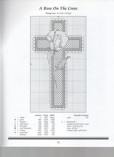 A ROSE ON THE CROSS Cross Patterns, Counted Cross Stitch Patterns, Cross Stitch Charts, Cross Stitch Designs, Cross Stitch Embroidery, Blackwork, Cross Crafts, Cross Stitch Bookmarks, Bible Covers